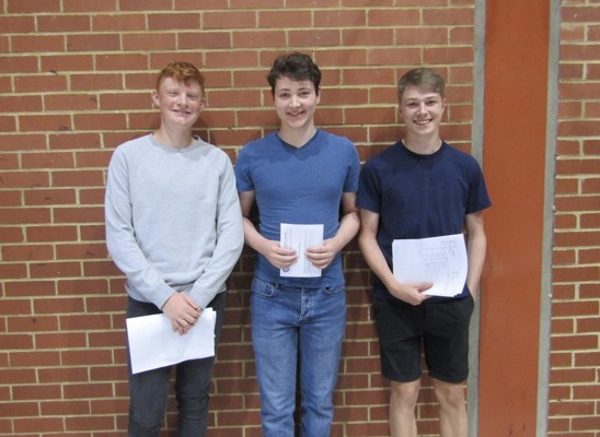 GCSE results 2019 Peter Murdock, George Boon and Leon Barnes